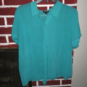 TEAL TIE FRONT BLOUSE